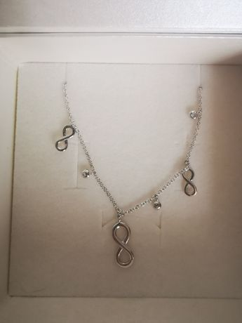 Naszyjnik srebrny nieskończoność kulki apart