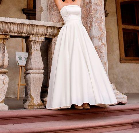 Elegancka suknia ślubna rozmiar 34-36 stan-idealny