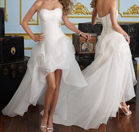 suknia ślubna sukienka HI-LO ślub wesele cywilny S 36, M 38, 40 l, 42