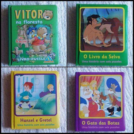 4 Livros puzzles capa dura - 3 anos +