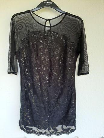 Mini sukienka/tunika damska czarna. 40