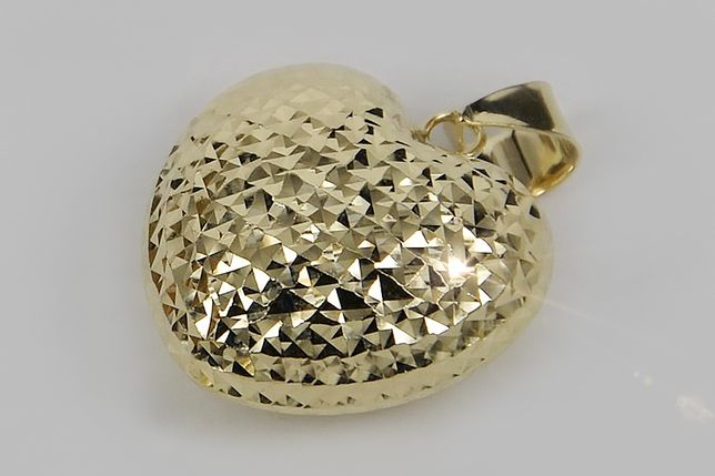 Złota zawieszka włoski styl serce żółte białe złoto pp017 P
