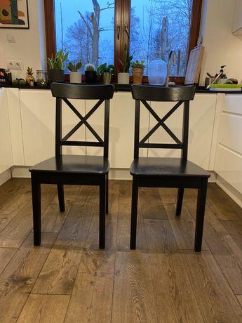 Krzesła drewniane IKEA INGOLF czarne krzesło do jadalni 2 sztuki