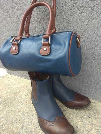 Шкіряні весняні черевики + сумка