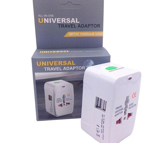 Adaptador ficha tomada Universal USB Europa EUA UK Viagem NOVO