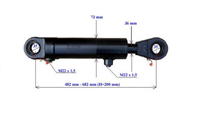 Siłownik hydrauliczny dwustronnego działania skok 200 mm