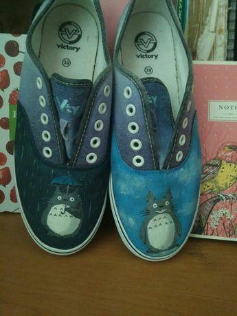 Кеды Аниме Totoro , роспись по ткани, роспись обуви