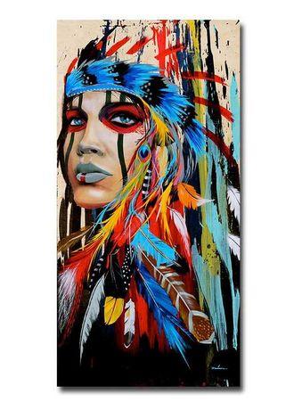 Картина девушка индеец принт на холсте без рамки 20х40см