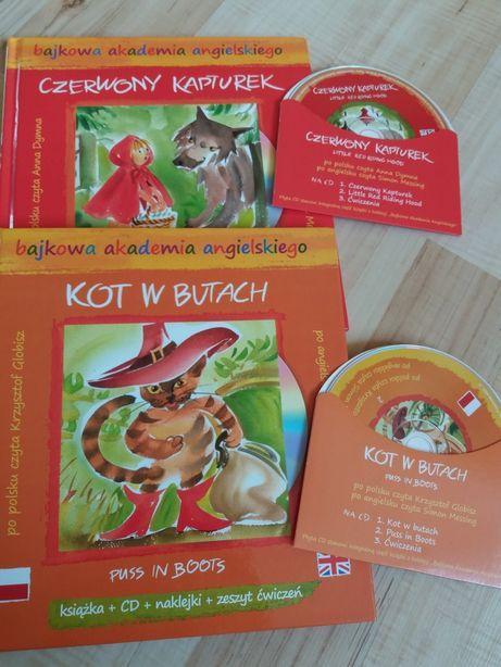 Kot w butach, Czerwony Kapturek - Książki + CD dwujęzyczne ang. i pol.