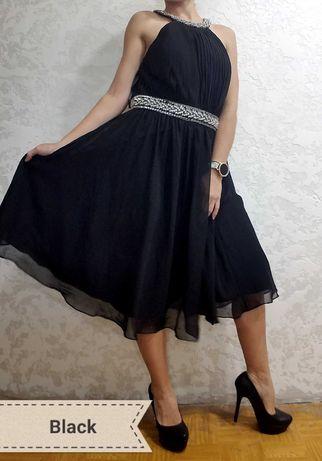 Черное платье до колен вечернее
