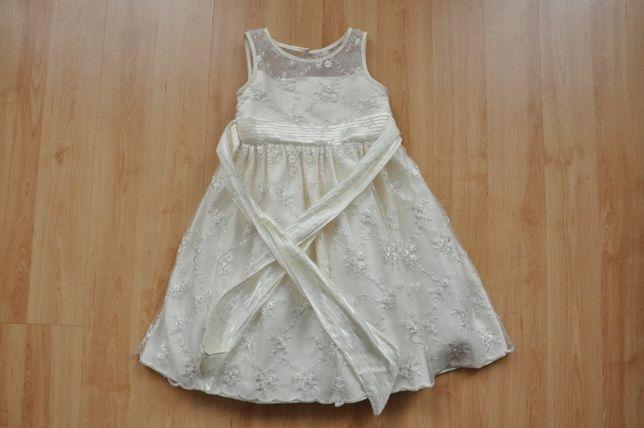 Sukienka dziewczęca ecru, 92-98