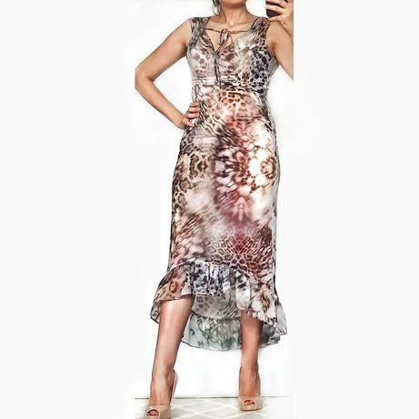 Skuga sukienka w panterkę River Island, r. M, mgiełka, asymetryczna