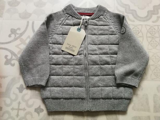 Sweterek sweter szary z ozdobnymi przeszyciami Zara rozm. 86 NOWY Z ME