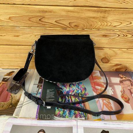 Женская замшевая сумка Polina & Eiterou полукруглая жіноча замшева