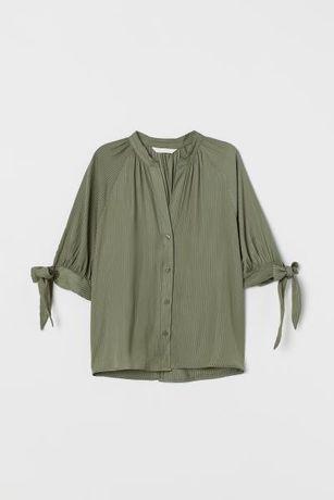 Bluzka khaki z wiązanym rękawem H&M 42 XXL nowa