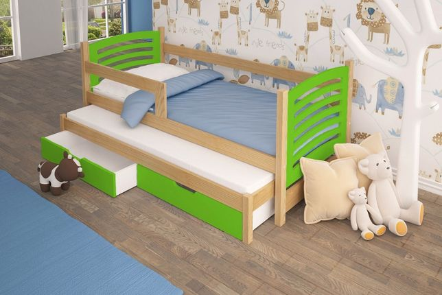 Łóżko podwójne OLEK z barierką i materacami gratis