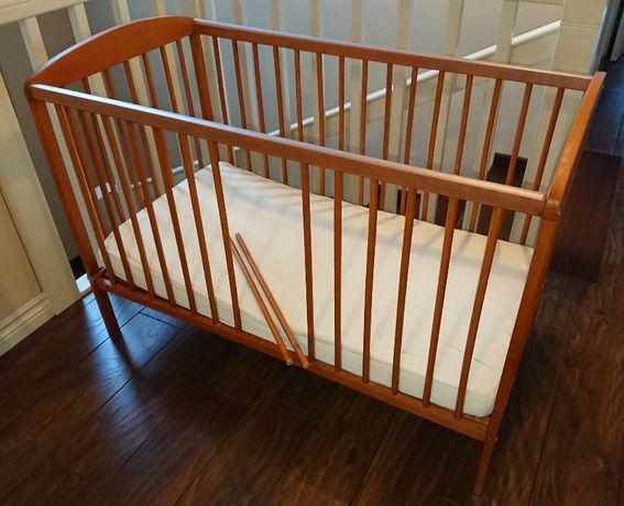Łóżeczko dziecięce drewniane Gluck Pawełek Standard 120X60cm i materac