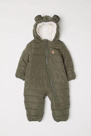 H&M*Zimowy kombinezon*ciepły*wygodny*56-62*wyprawka*khaki*śpiworek*
