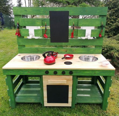 Kuchnia błotna dla dzieci, drewniana, plac zabaw.