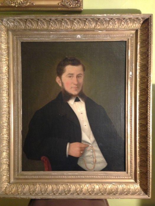 Stary portret gentelmena olej na płótnie XIX wiek staroć antyk Warszawa - image 1