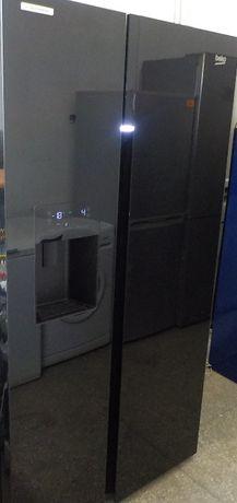 Lodówka SBS, czarne szkło, kostkarka, używana