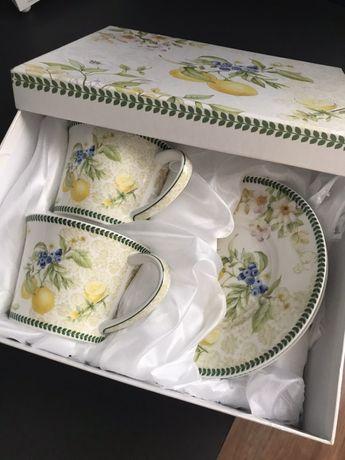 Подарочный набор посуды фарфор чайный сервиз тарелки чашки блюдо