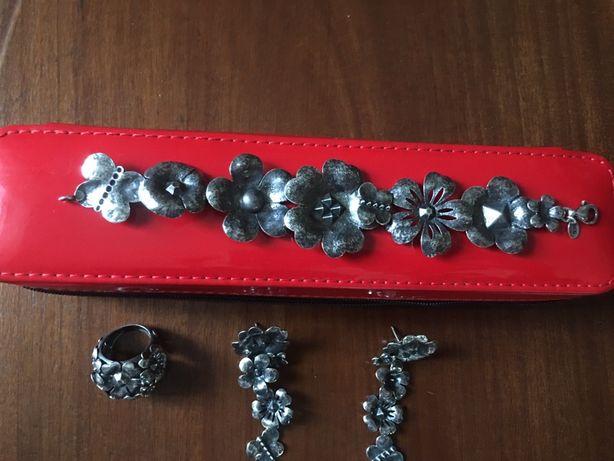 Conjunto (brincos, anel, pulseira)  em prata Tous original(baixa)