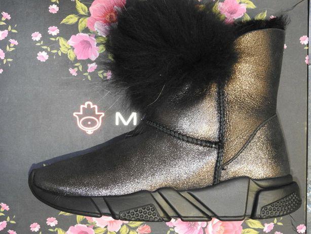 NEW MOVIE'S Новые кожаные сапоги ботинки сникерсы угги мех 37 23.5см
