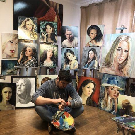 Портрети та інші картини на замовлення,навчання,майстер-класи.