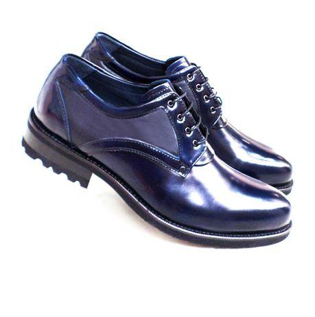 Кожаные мужские дерби Luciano Bellini синие. Р: 40,41,43,44,45