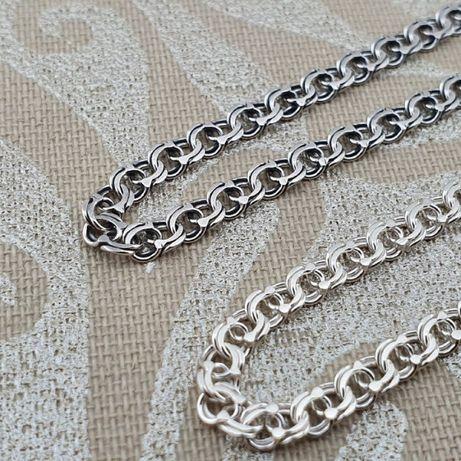 Хорошая цена!!! Серебряная цепочка Бисмарк. Серебро цепь черная и бел