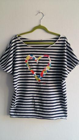 Endo t-shirt w paski serce M 38