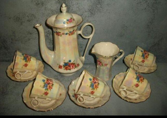 Кофейный сервиз перламутровый с позолотой СССР