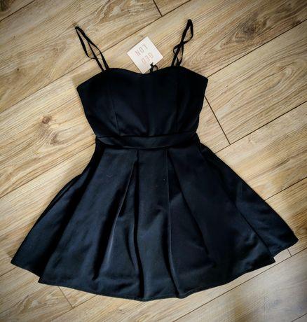 Sukienka QED LDN suknia czarna rozkloszowana nowa regulowana