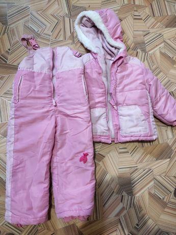Зимний комплект комбенизон и куртка, комбинезон теплый комбез 3-4 года
