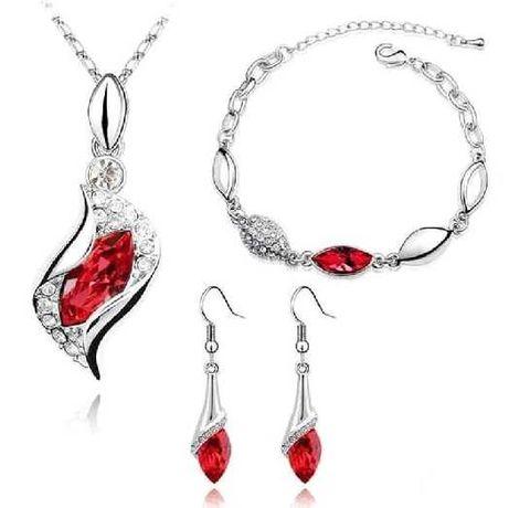 komplet biżuteria RED zestaw kolczyki wisior bransoletka łańcuszek