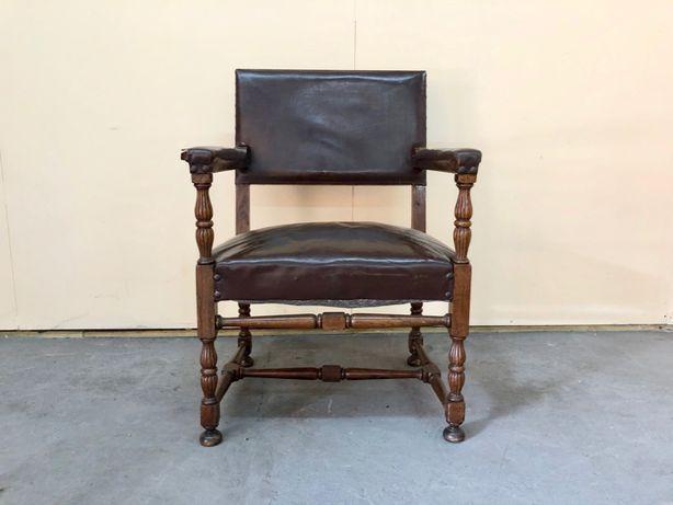 Fotel skórzany TRON eklektyk DESIGN XIX w. dębowy