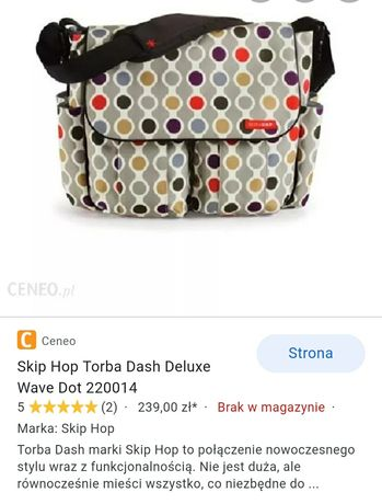 Nowa torba do wózka  Skip Hop Dash Deluxe Wave Dot