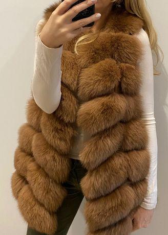 KAMIZELKA LIS Futro naturalne kolory rozmiary 75cm luksus promocja