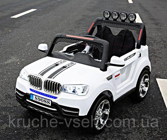Детский электромобиль Джип M 3118, BMW, 2-х местный, 4WD, EVA, кожа