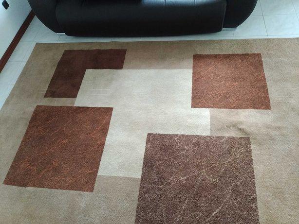 Carpete 200*290 tons laranja castanho e bege