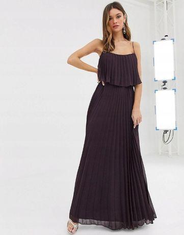 sukienka plisowana S M maxi długa Asos