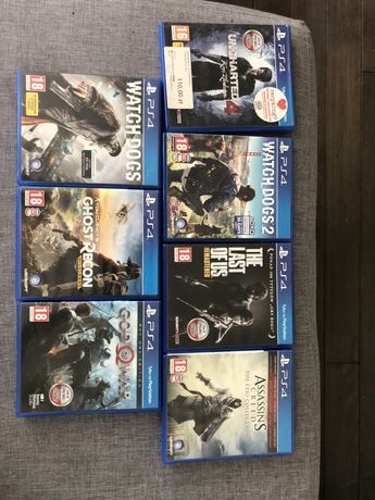 Gry PS4 watchdogs, the last of us, god of war