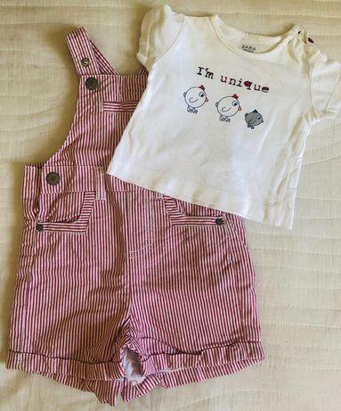 Jardineira e t-shirt bebé Zara