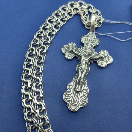 Серебряная цепочка + крест серебряный крестик Комплект серебро 925