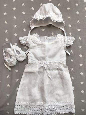 Крестильный комплект для девочки, крестильное платье из льна