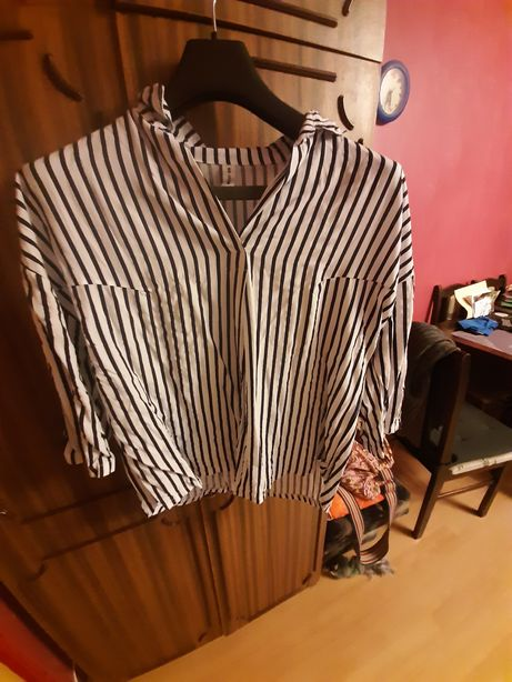 Koszula biala w czarne paski rękaw 3/4 rozmiar 42/44