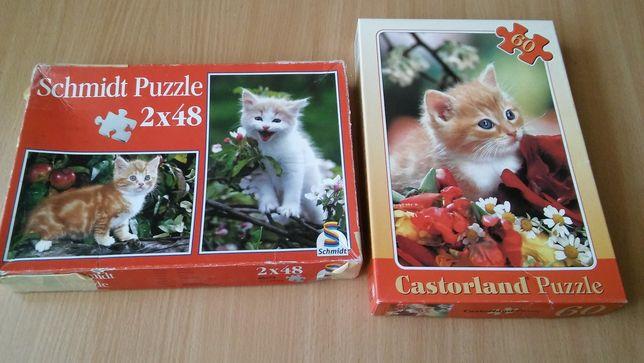 3x Puzzle 48 i 60 koty kotki kociaki