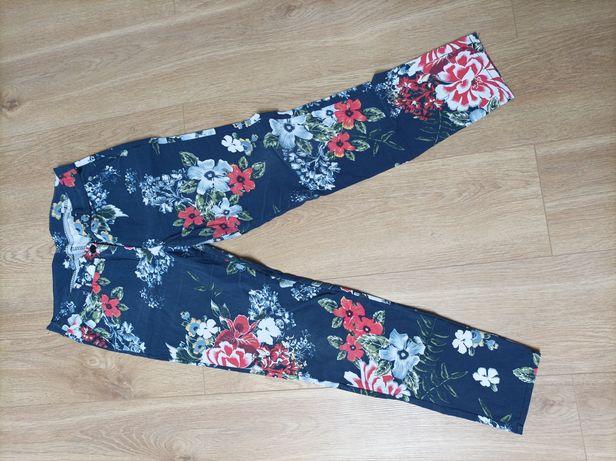 Spodnie granatowe kolorowe kwiaty elastyczne L