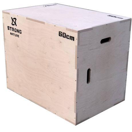 Wytrzymała skrzynia plyometryczna drewniana STRONG NATURE 50x60x75